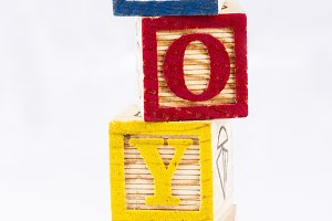 Toys word with wooden blocks