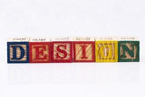 Design word with wooden blocks