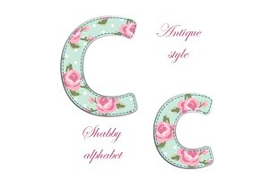 Fabric retro letters in shabby chic style