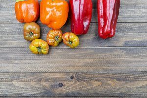 Vegetable background on wooden background. Healthy food. Copy space.