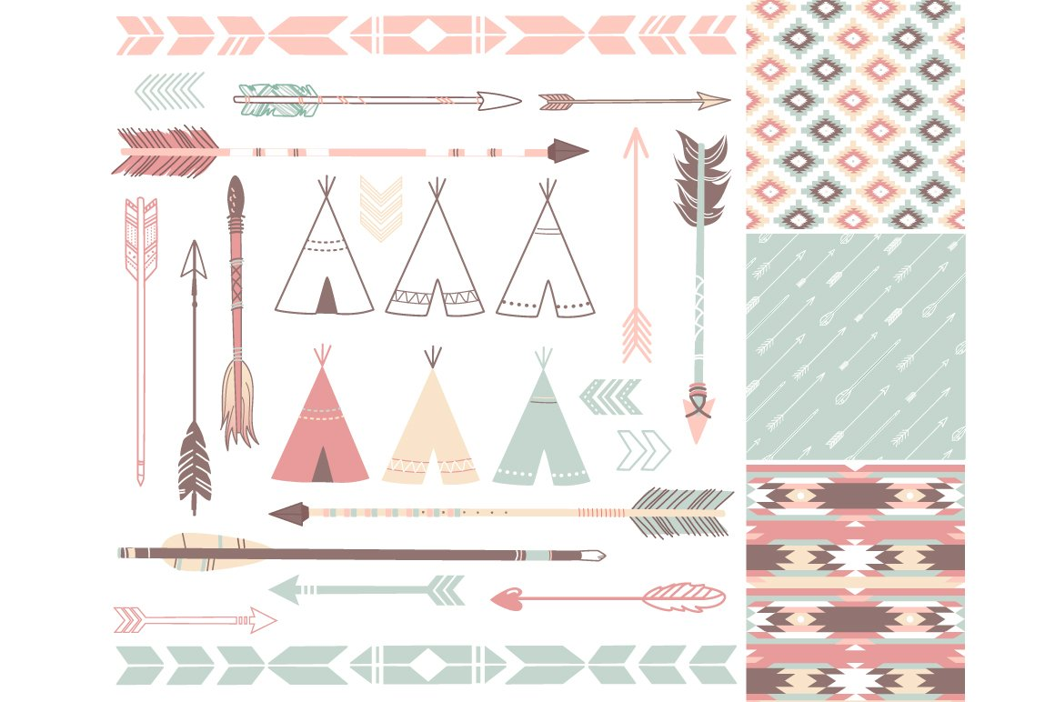 Arrows, Teepee Tents, tribal papers ~ Illustrations ...