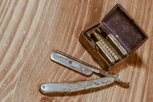 Antique shaving razor blades