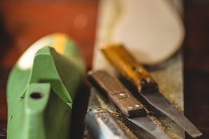 Close-up of shoemaker tools