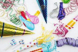 Background of party items and celebrations on white background. Celebration.