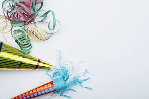 Party items on white background. Celebration.