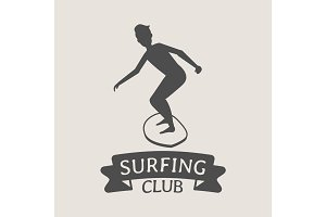 Surfing club logo with surfer