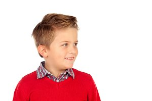 Blond child with red jersey