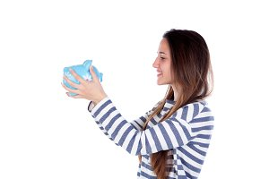 Teenager girl with a moneybox