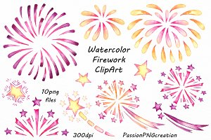 Watercolor Firework Clipart