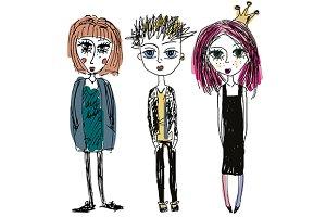 Doodle hand drawn people. Teens