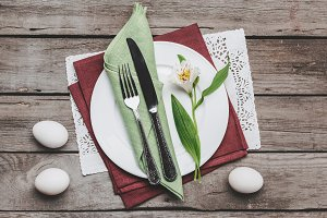 Easter table setting with cutlery