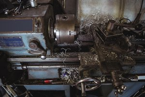 Close-up of lathe machine
