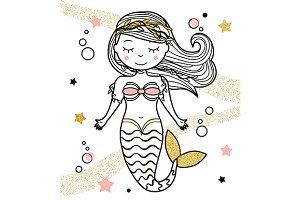 Cute Mermaid. Vector+jpg