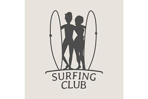 Surfing logo with two surfers