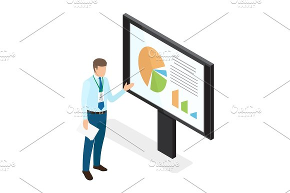Young Businessman Showing Diagrams On Monitor