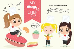 MY Little Chef Hand drawn Vector