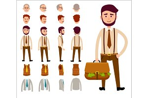 Businessman Constructor Isolated Illustration