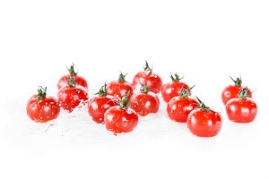 heap of clean cherry tomatoes