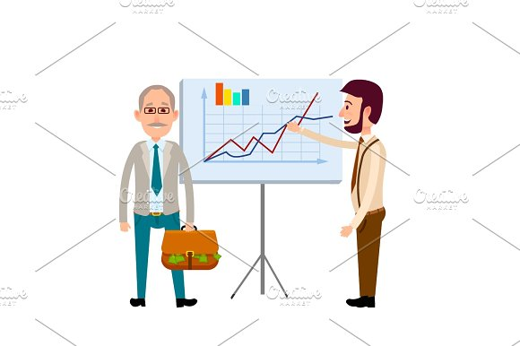 Two Men Standing Near Poster With Charts Flat Icon
