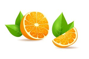 Orange with Leaves Cartoon Isolated Illustration