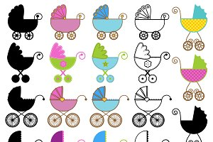 Baby Carriage Vectors and Clipart