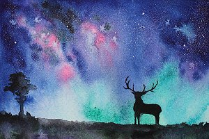 Night view with deer, watercolor