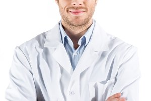 young doctor in white coat