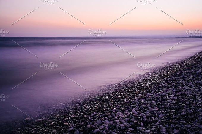 Pebble sea beach. Long exposure. - Nature