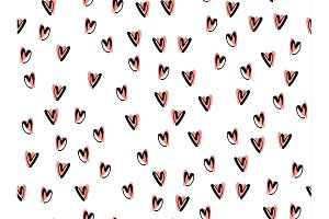Hearts background vector pattern.