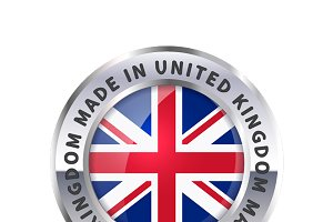 Metal badge, made in United Kingdom