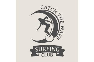 Logo with woman riding on surfboard