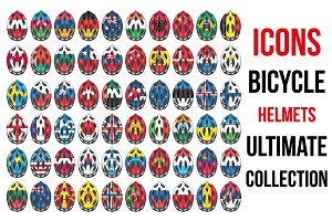 60 Bicycle Helmets Icons With Flags.