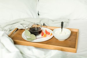 healthy breakfast in bed
