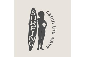 Surfing logo with woman surfer