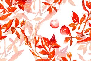 leaves berries seamless pattern |JPG