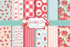 Shabby Chic Rose Digital Paper pack