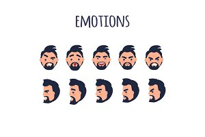 Male Facial Emotions Vector Collection on White