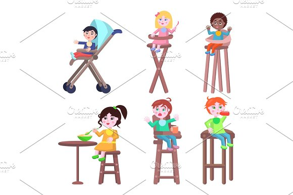 Toddlers on Children High Chairs Flat Vector