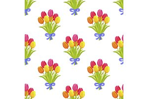Seamless Pattern with Beautiful Bouquet of Tulips