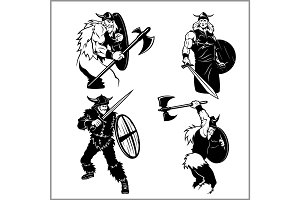 Fighting vikings vector set