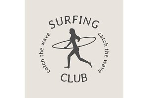 Surfing club logo or symbol design