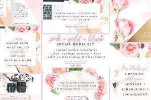 Pink & Gold Social Media Templates
