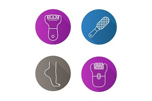 Feet care flat linear long shadow icons set
