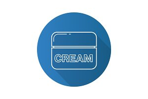 Face cream jar flat linear long shadow icon