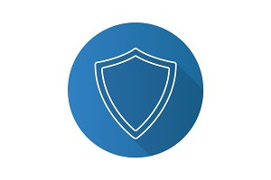 Protection shield flat linear long shadow icon