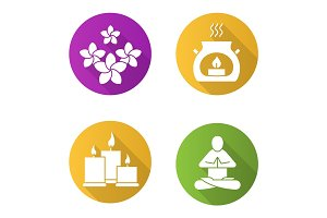 Spa salon flat design long shadow icons set