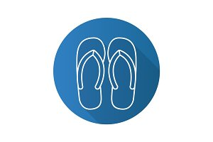 Flip flops flat linear long shadow icon