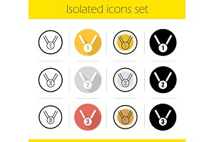Sport medals icons set