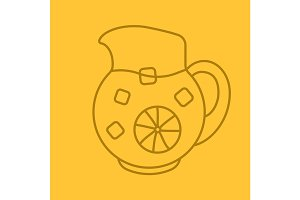 Lemonade jug color linear icon