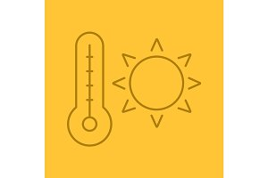 Summer heat color linear icon
